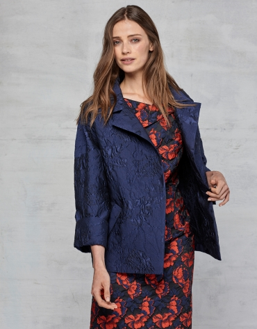 Midnight blue jacquard dressy three-quarter jacket