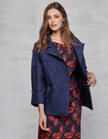 Midnight blue jacquard dressy three-quarter jacket