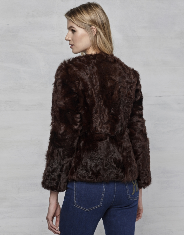 Brown lambskin three-quarter jacket