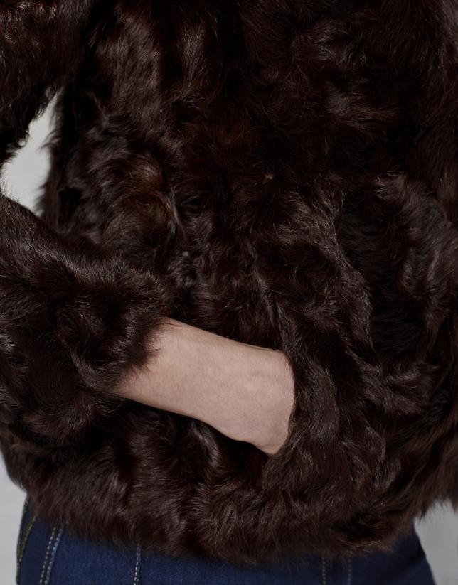 Trois-quarts en cuir d'agneau marron