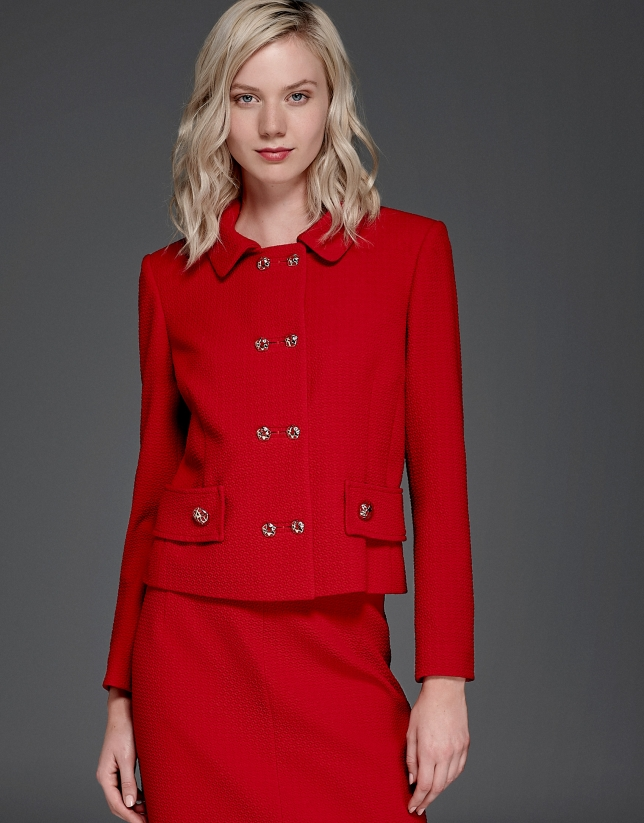 Veste floquée courte rouge