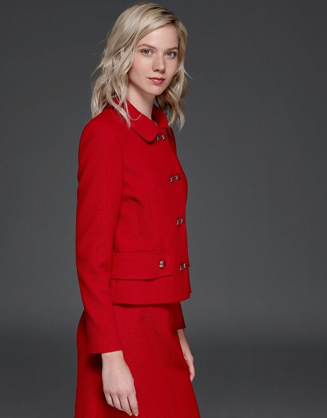 Red short flocked jacket