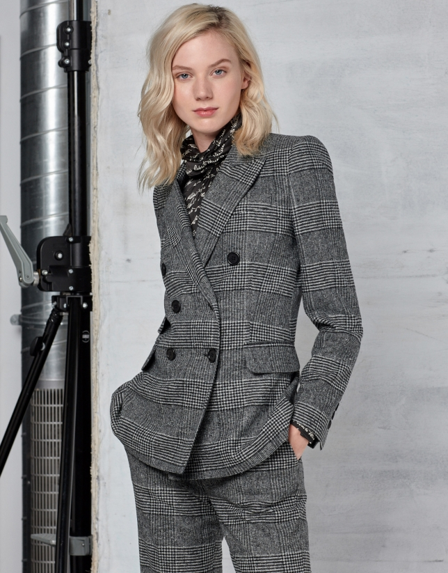 Gray glen plaid and hounds tooth double-breasted jacket