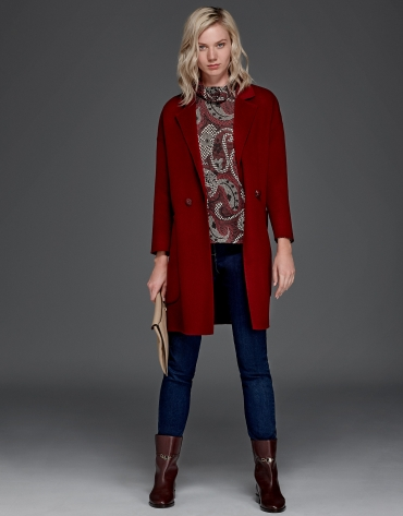 Maroon, double-faced long coat