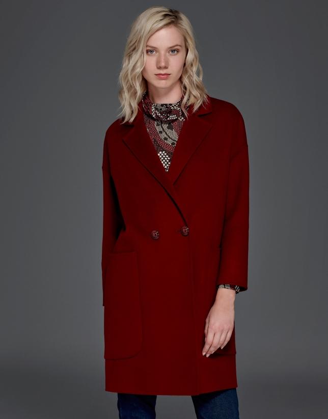 Manteau en maille double face grenat