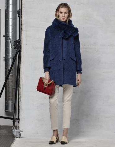 Dark blue retro coat with fur collar