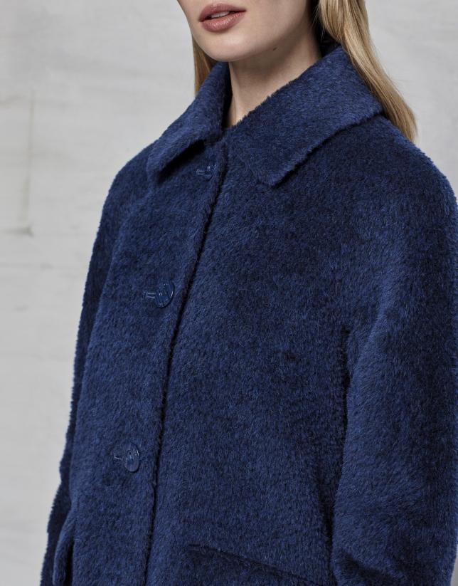 Abrigo retro cuello pelo azul tinta