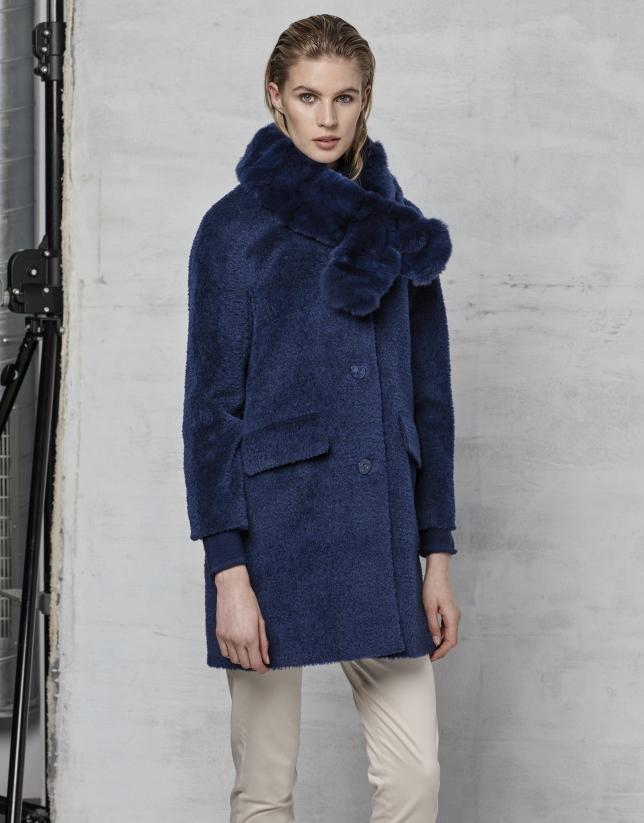 Manteau rétro col poil de lapin bleu encre