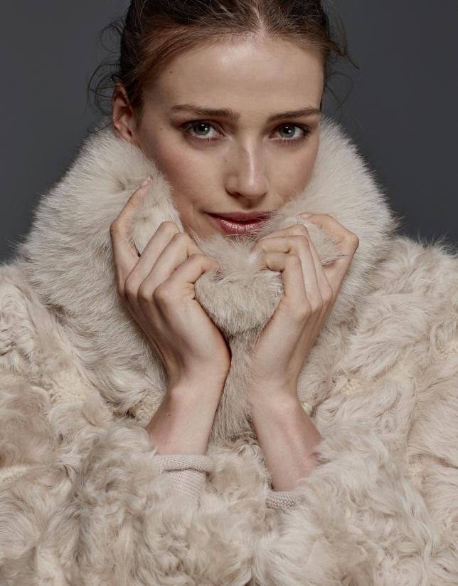 Beige lambskin coat