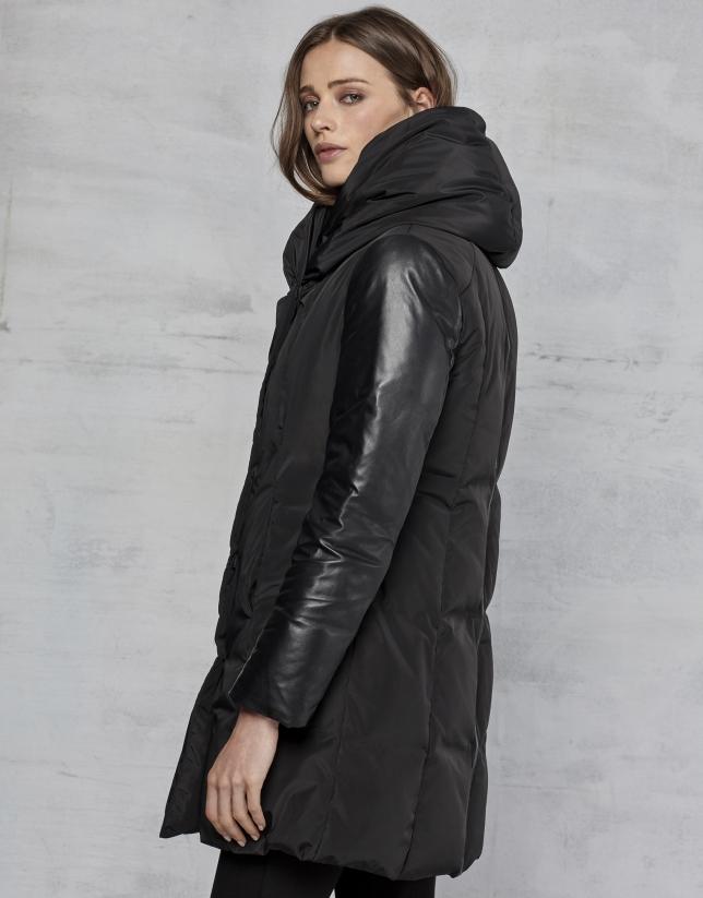 Doudoune noire à manches en cuir
