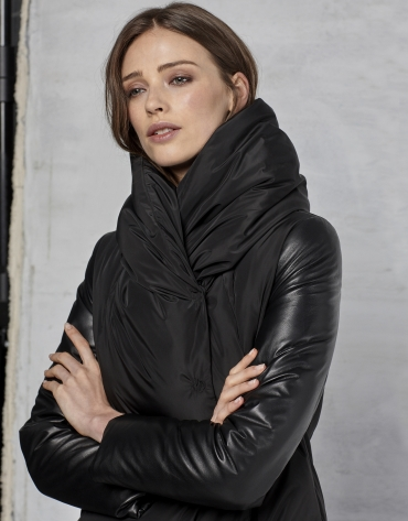 Black ski jacket with leather sleeves