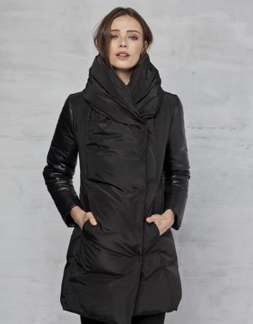 Black ski jacket with leather sleeves