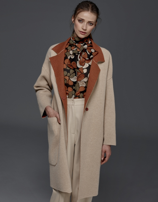 Beige, double-faced knit coat
