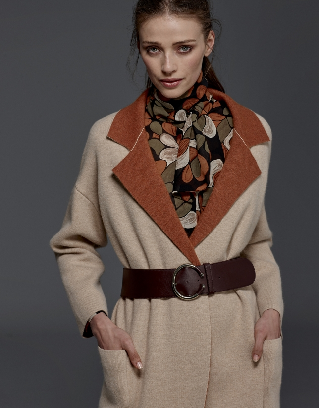 Manteau en maille double face beige