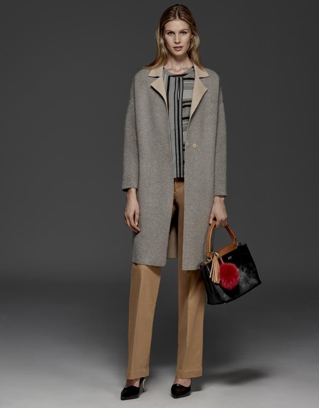 Grey, double-faced long coat