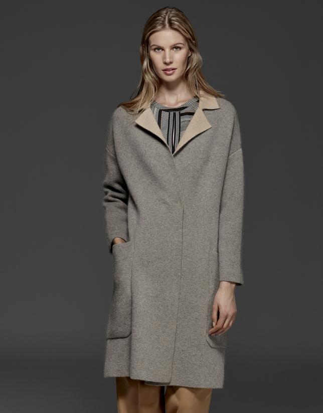 Abrigo punto doble faz gris