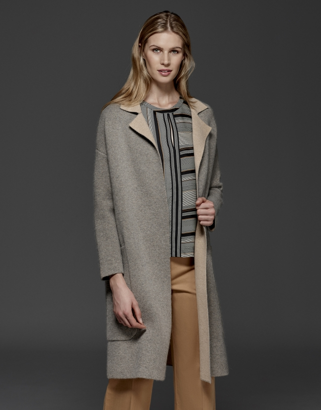 Gray, double-faced long coat