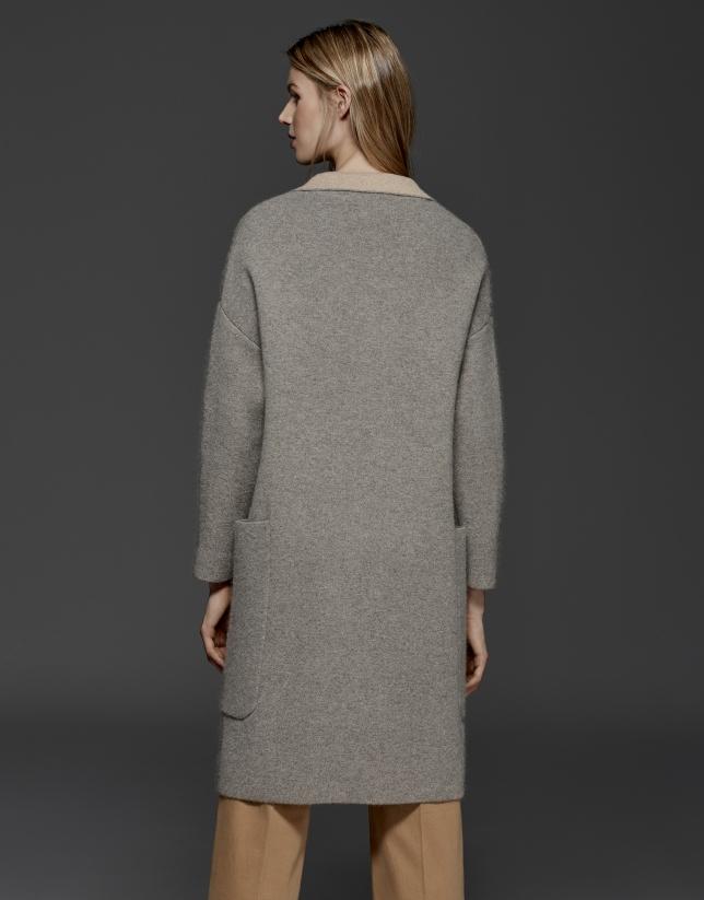 Manteau en maille double face gris