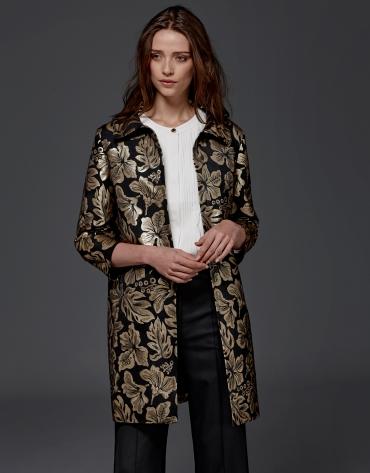 Manteau de soirée en jacquard or