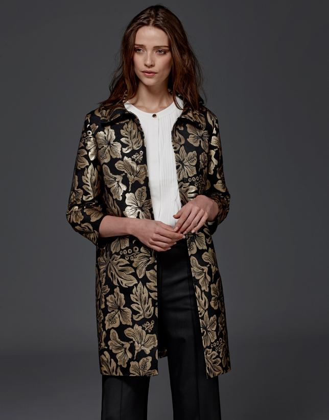 plus de photos 138e5 1f435 Manteau de soirée en jacquard or - Femme | Roberto Verino