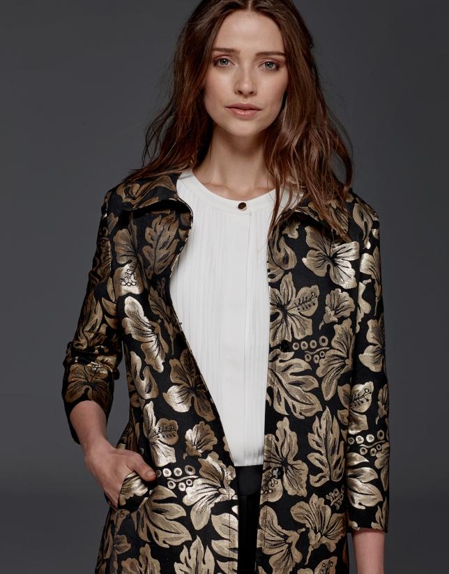 Gold jacquard dressy coat