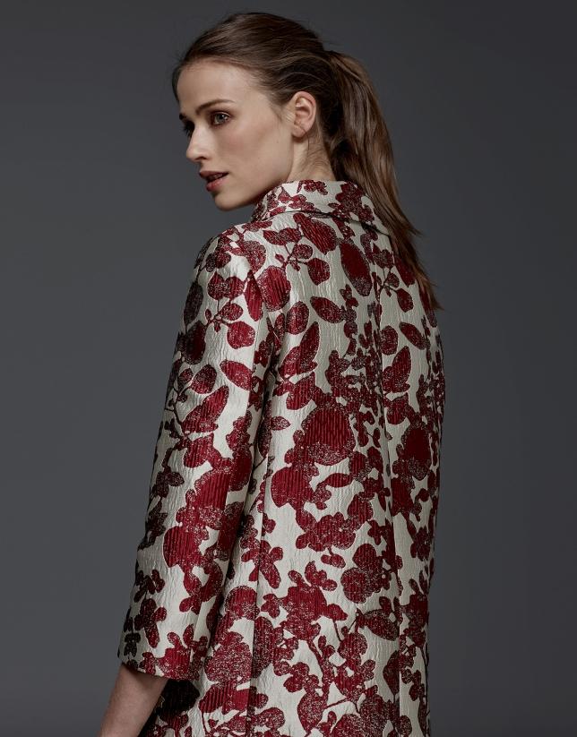 Maroon floral print jacquard coat