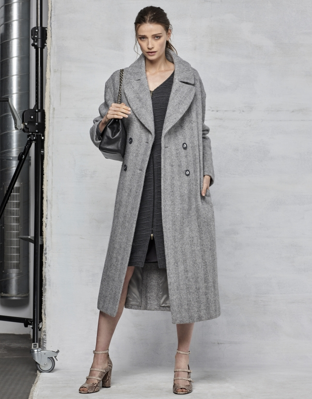 Long gray herringbone coat