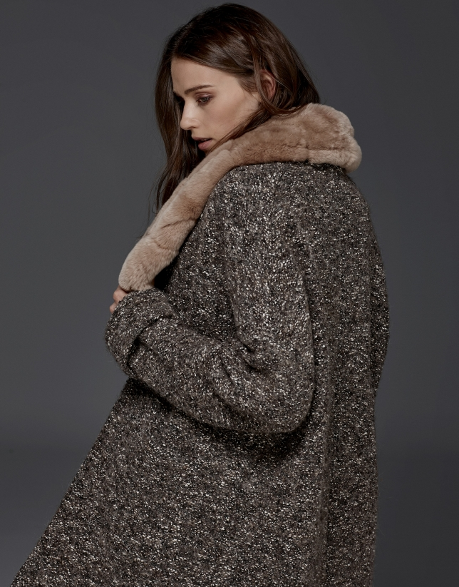 Grey knit three-quarter coat
