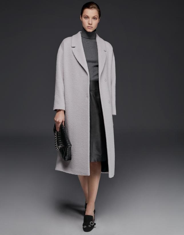Abrigo de lana, alpaca y mohair beige