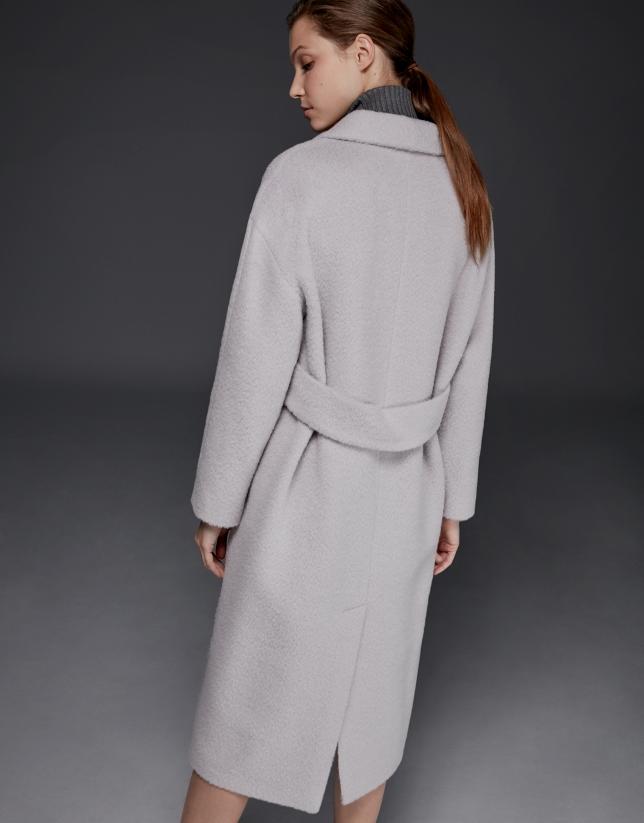 Manteau en laine, alpaga et mohair beige