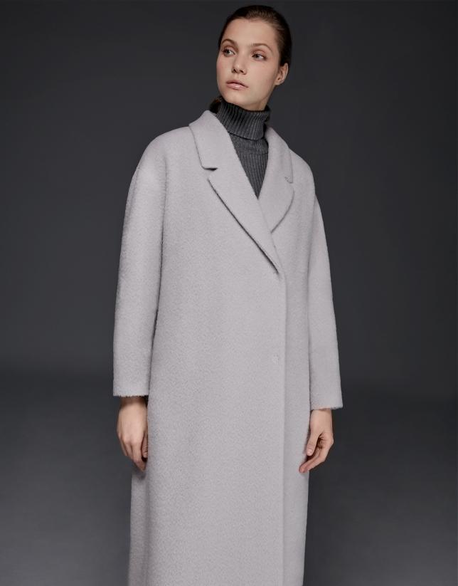 Beige mohair, alpaca and wool coat