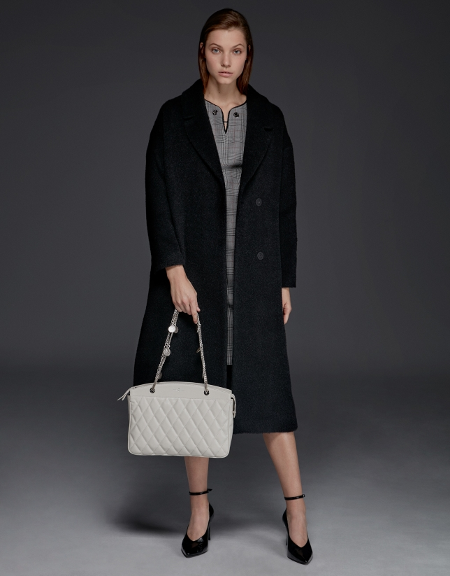 Black mohair, alpaca and wool coat