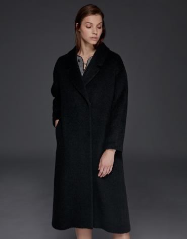 Abrigo de lana, alpaca y mohair negro