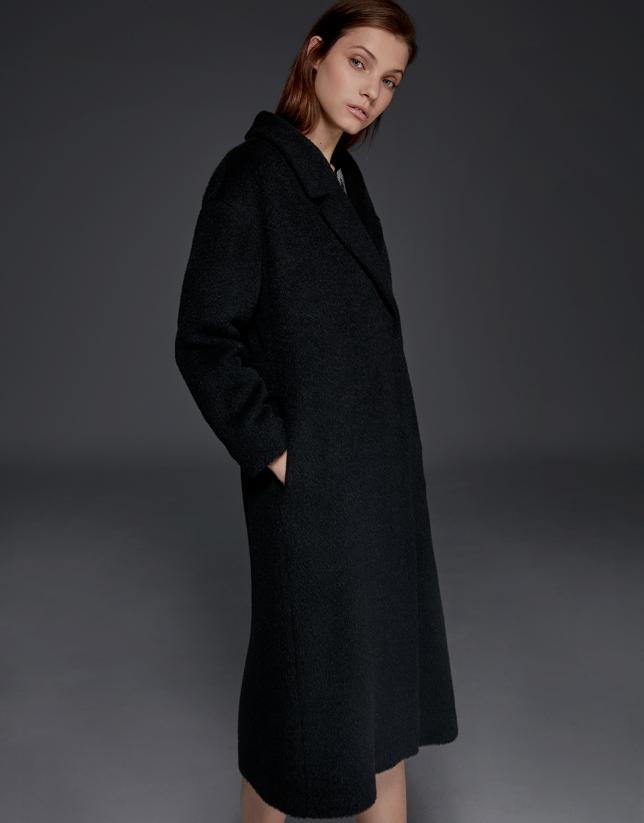 Manteau en laine, alpaga et mohair noir