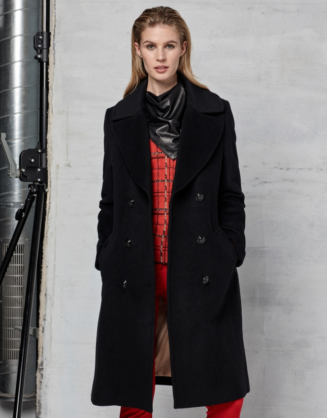 Black wool and angora double-breasted coat with belt