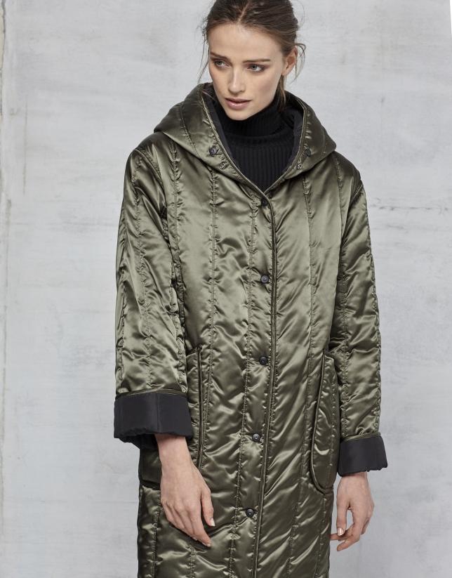 Manteau long matelassé réversible noir/vert