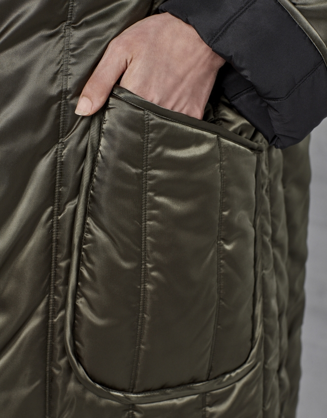 Reversible black/green quilted long coat
