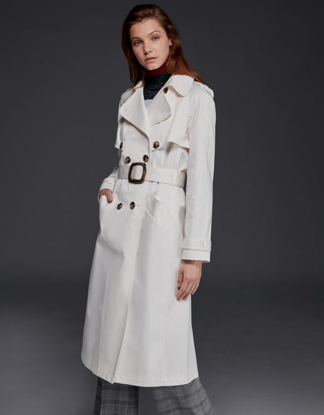 Long white raincoat