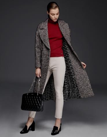 Manteau long en tweed marron