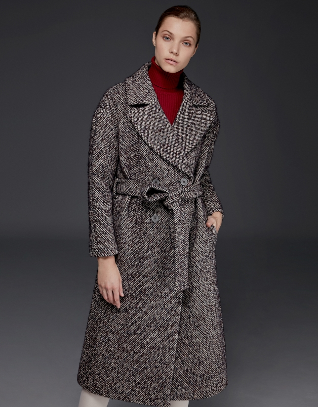 Long brown tweed coat