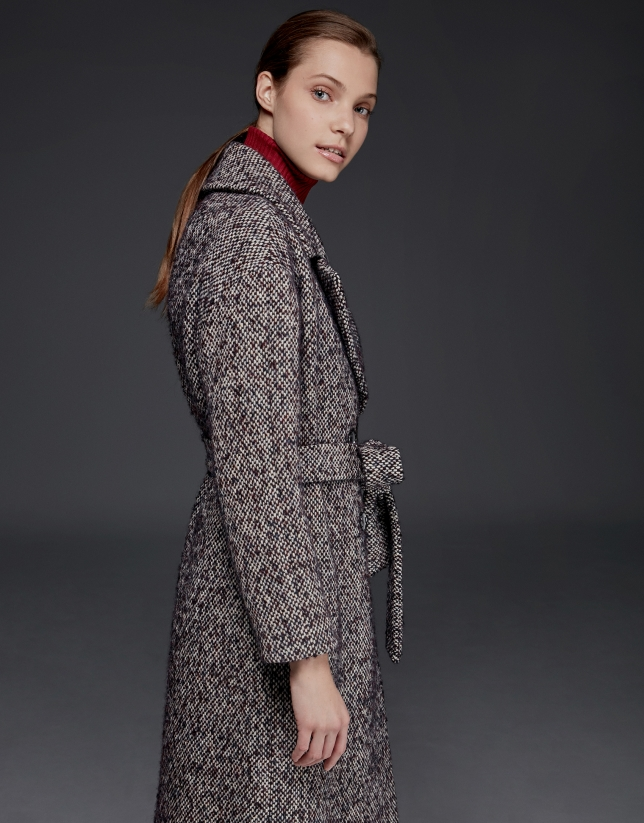 Manteau long en tweed marron