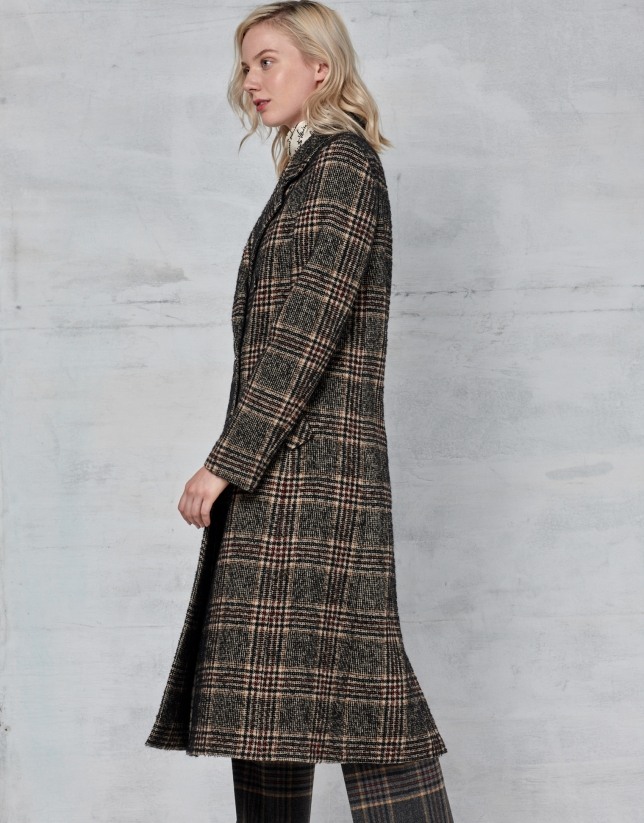 Long brown glen plaid coat