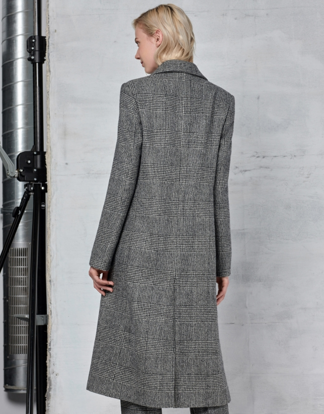 Long gray glen plaid coat