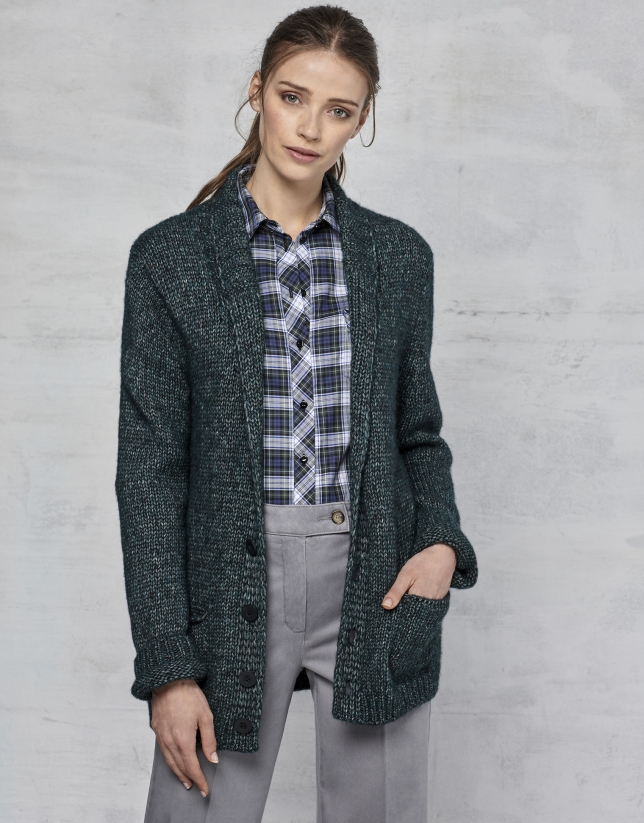 Emerald green jacket with belt - Woman - AW2017 | Roberto Verino