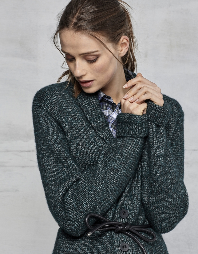 Emerald green jacket with belt