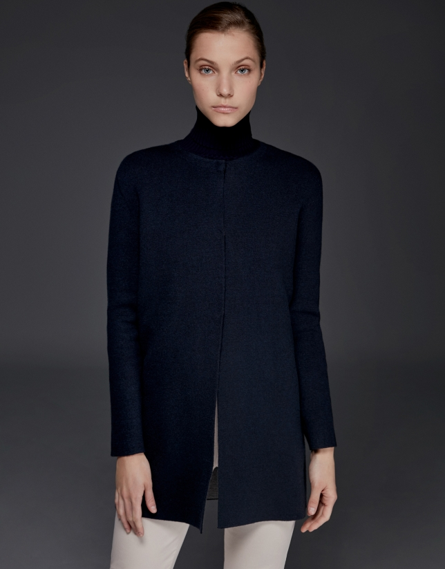 Navy blue, double-faced knit jacket