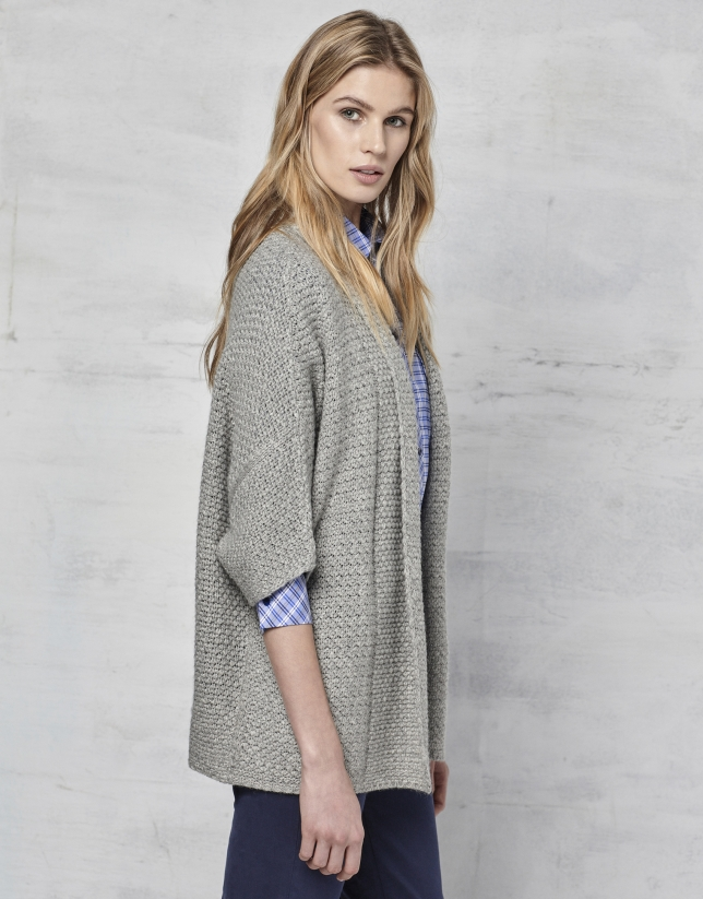 Gray oversize knit jacket