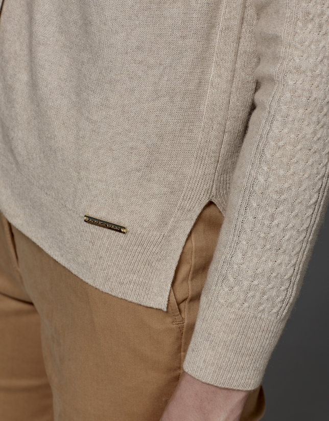 Ivory wool/cashmere cable knit jacket