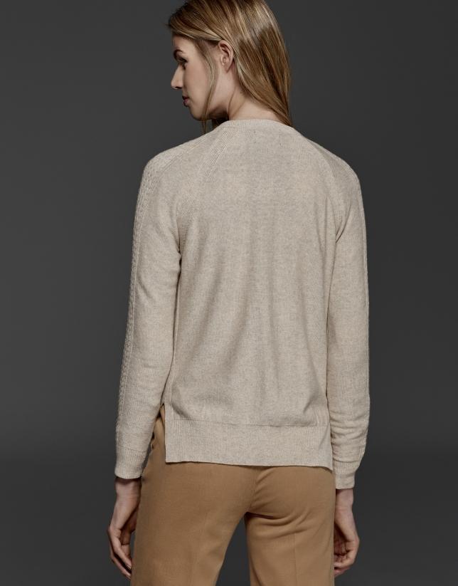 Veste torsadée en laine et cachemire couleur ivoire