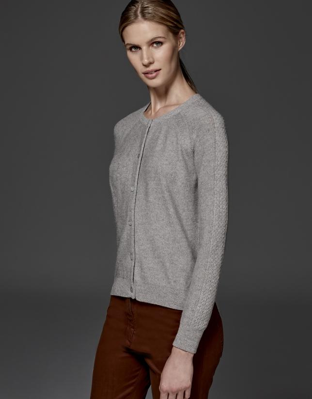 Veste torsadée en laine et cachemire gris argenté